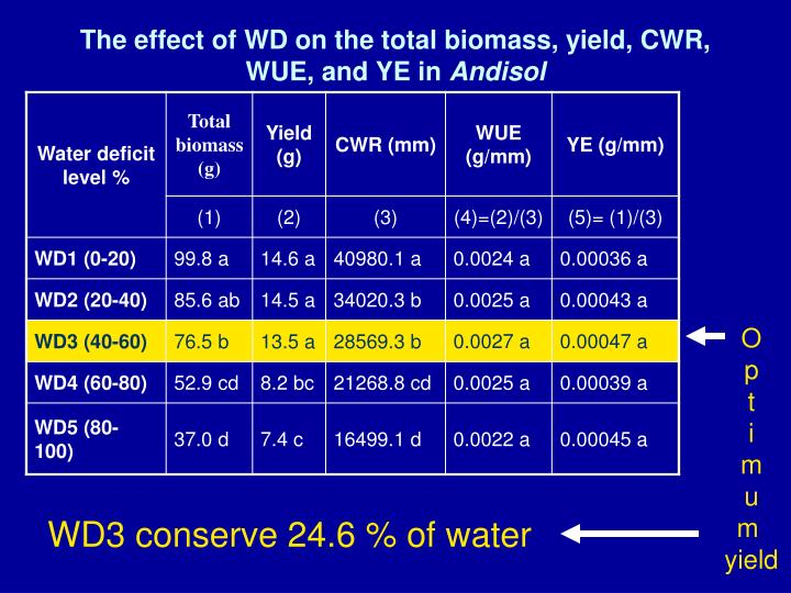 The effect of WD on the total biomass, yield, CWR, WUE, and YE in