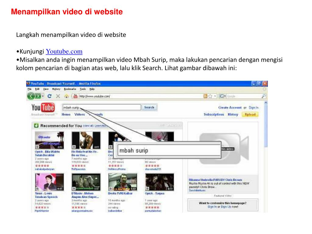 Menampilkan video di website