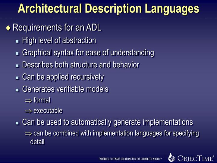 Architectural Description Languages
