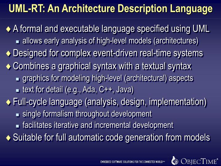 UML-RT: An Architecture Description Language