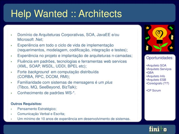 Domínio de Arquiteturas Corporativas, SOA, JavaEE e/ou