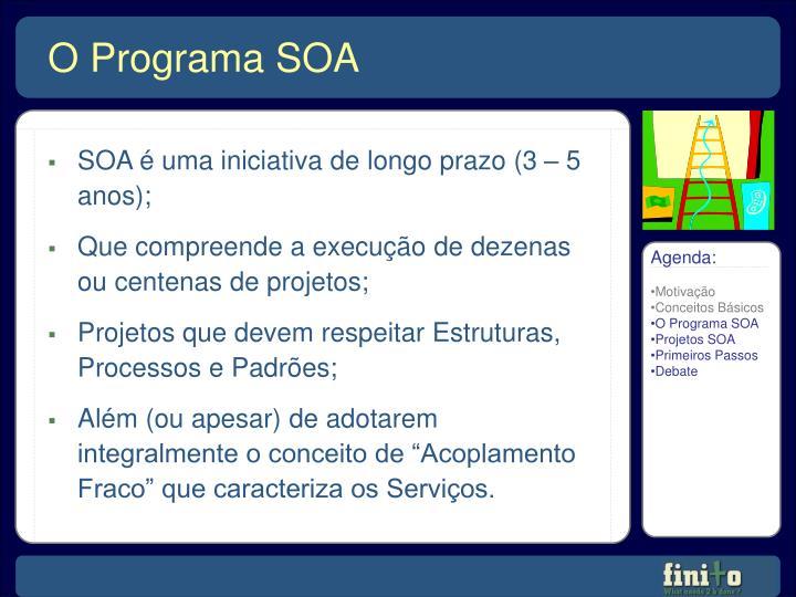 SOA é uma iniciativa de longo prazo (3 – 5 anos);