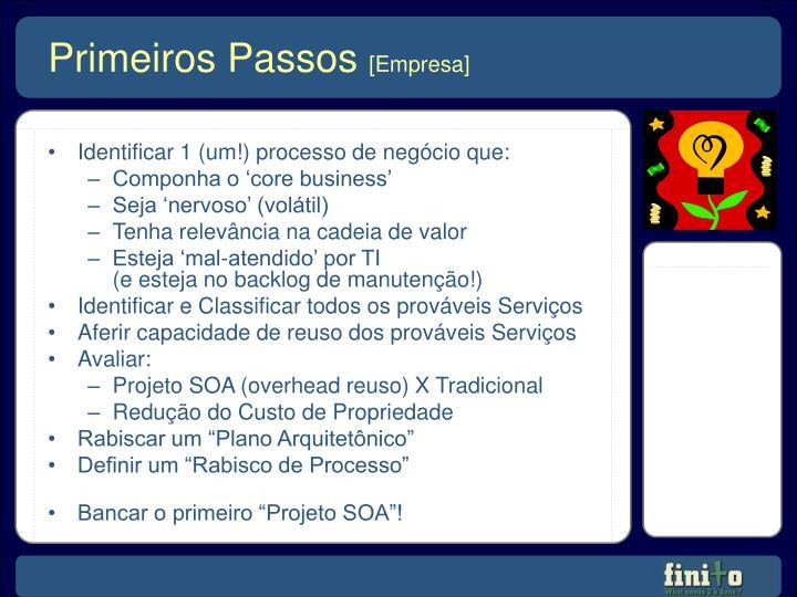 Identificar 1 (um!) processo de negócio que: