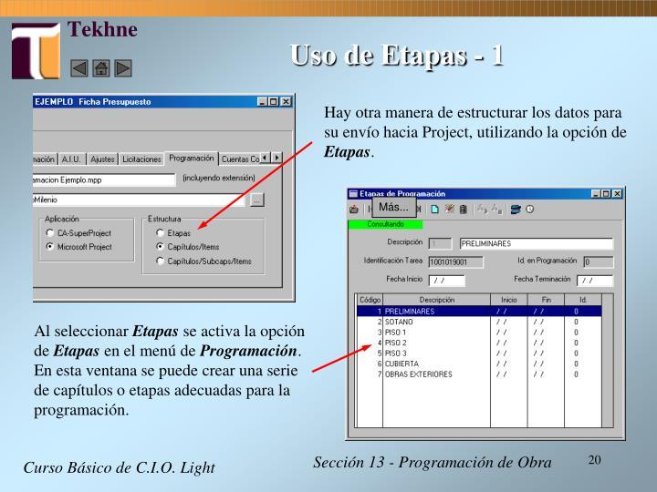 Uso de Etapas - 1