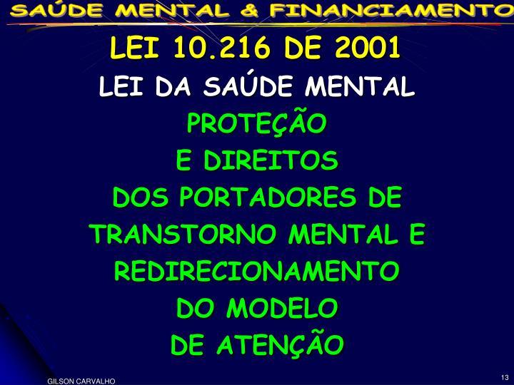 LEI 10.216 DE 2001