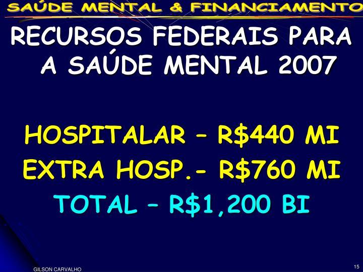 RECURSOS FEDERAIS PARA A SAÚDE MENTAL 2007
