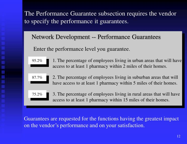 Network Development -- Performance Guarantees