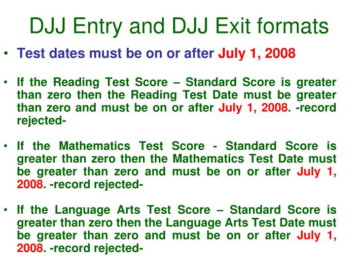 DJJ Entry and DJJ Exit formats