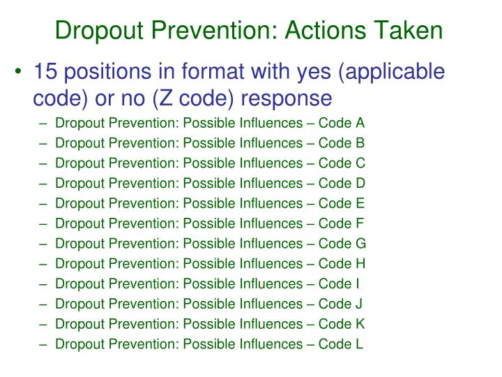 Dropout Prevention: Actions Taken