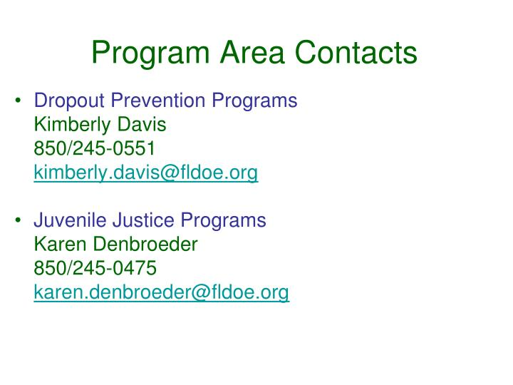 Program area contacts