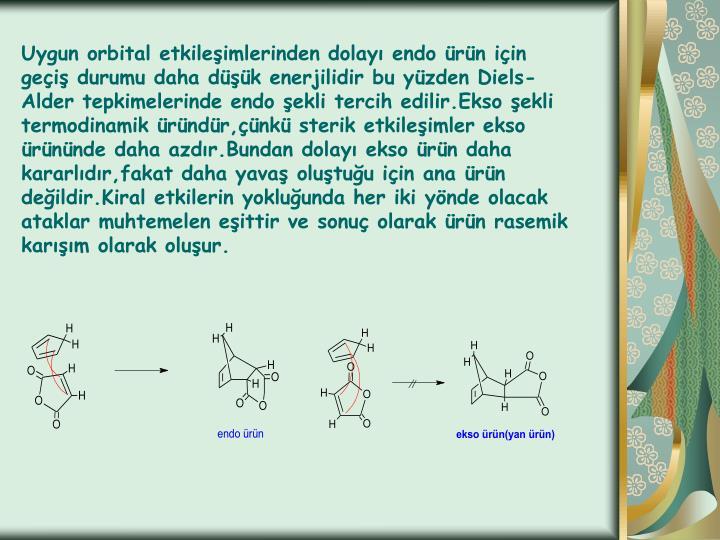 Uygun orbital etkileşimlerinden dolayı endo ürün için geçiş durumu daha düşük enerjilidir bu yüzden Diels-Alder tepkimelerinde endo şekli tercih edilir.Ekso şekli termodinamik üründür,çünkü sterik etkileşimler ekso ürününde daha azdır.Bundan dolayı ekso ürün daha kararlıdır,fakat daha yavaş oluştuğu için ana ürün değildir.Kiral etkilerin yokluğunda her iki yönde olacak ataklar muhtemelen eşittir ve sonuç olarak ürün rasemik karışım olarak oluşur.