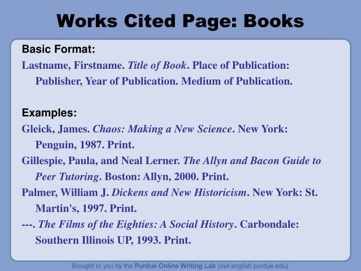 mla format citation books