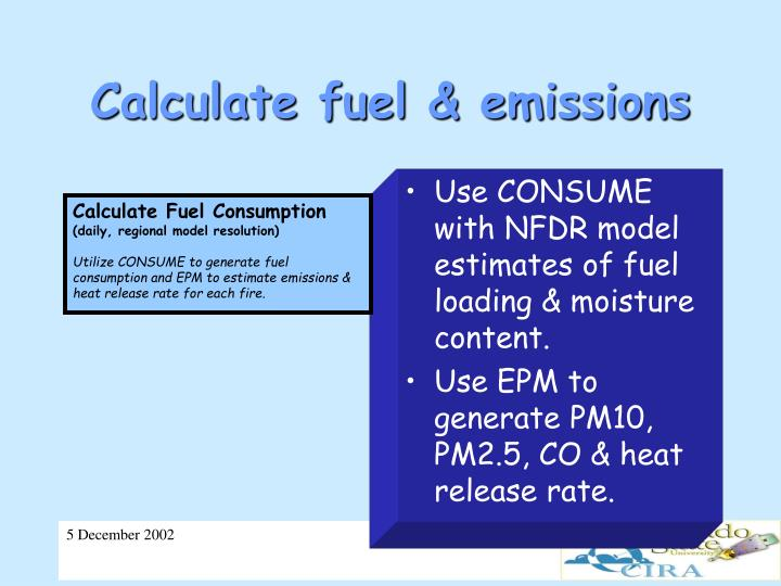 Calculate fuel & emissions