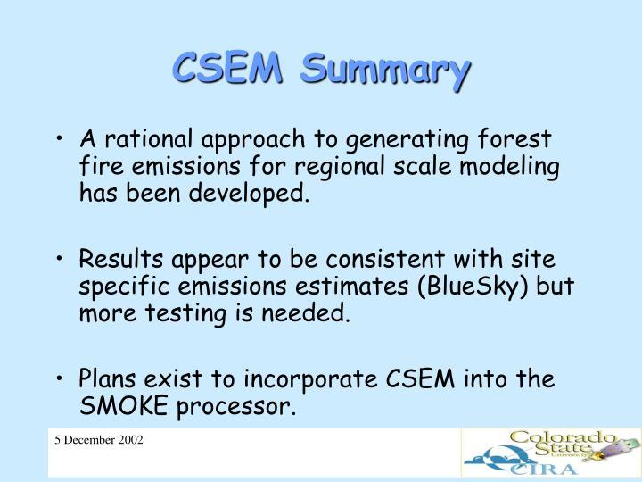 CSEM Summary