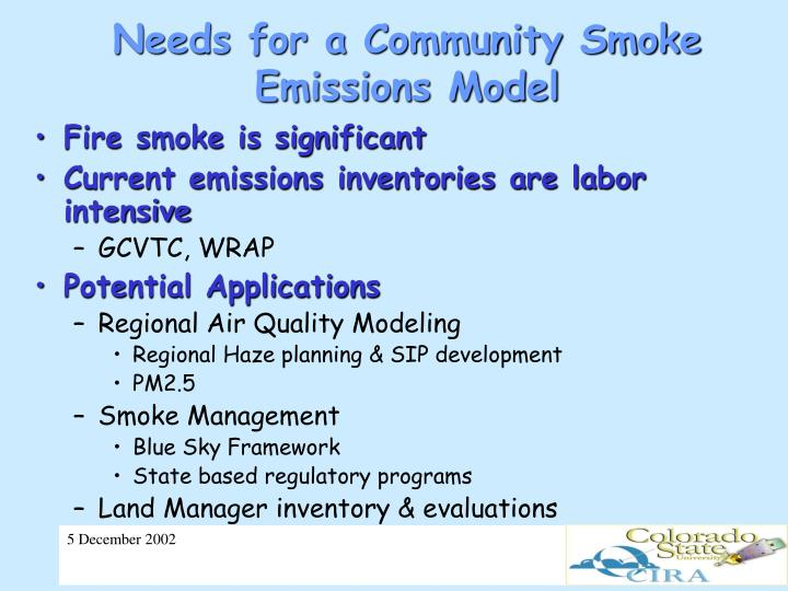 Needs for a Community Smoke Emissions Model