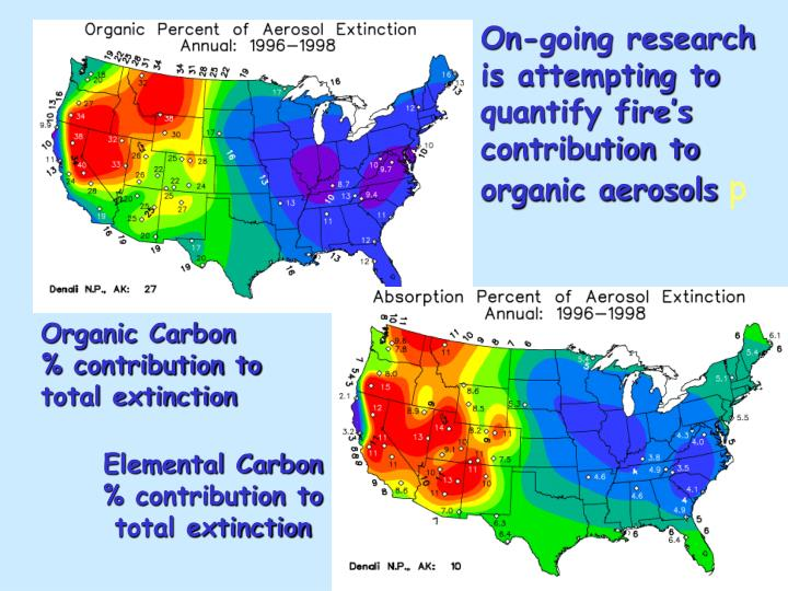 On-going research is attempting to quantify fire's contribution to organic aerosols