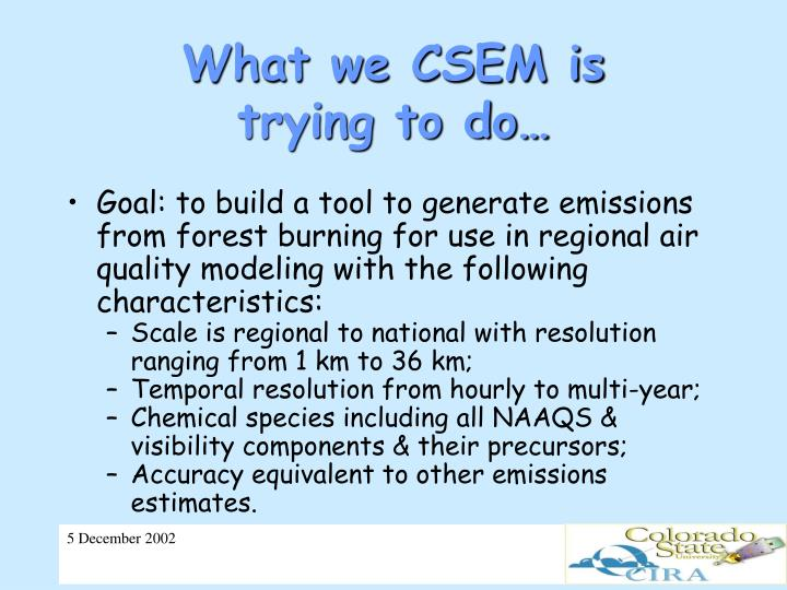 What we CSEM is