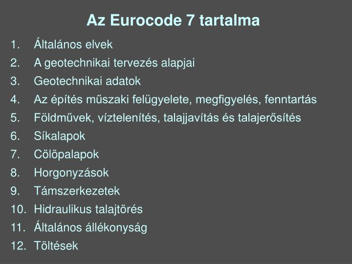Az Eurocode 7 tartalma