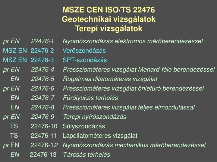 MSZE CEN ISO/TS 22476