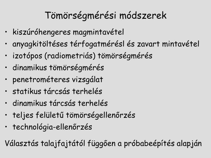 Tömörségmérési módszerek