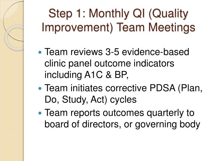 Step 1: Monthly QI (Quality Improvement) Team Meetings