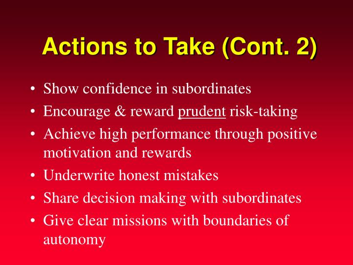 Actions to Take (Cont. 2)