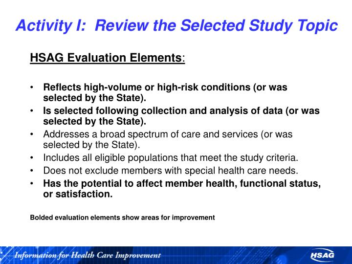 Activity I:  Review the Selected Study Topic