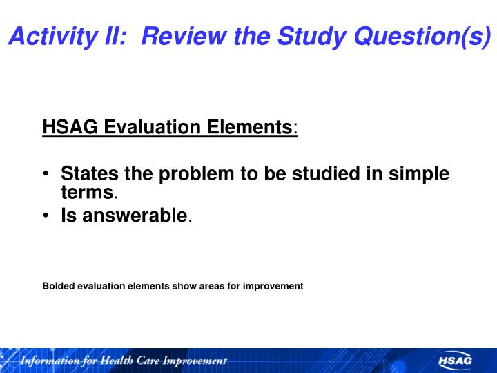 Activity II:  Review the Study Question(s)