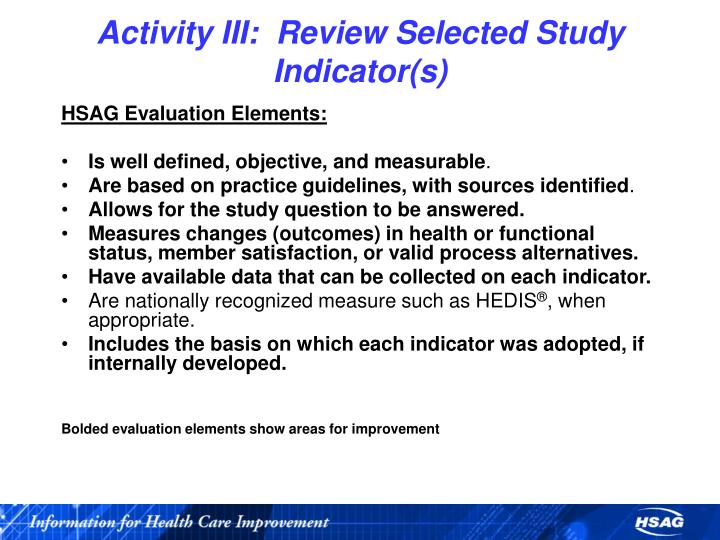 Activity III:  Review Selected Study Indicator(s)