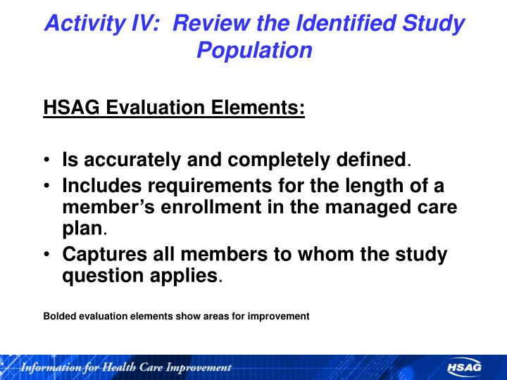Activity IV:  Review the Identified Study Population