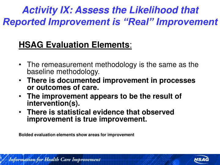 """Activity IX: Assess the Likelihood that Reported Improvement is """"Real"""" Improvement"""