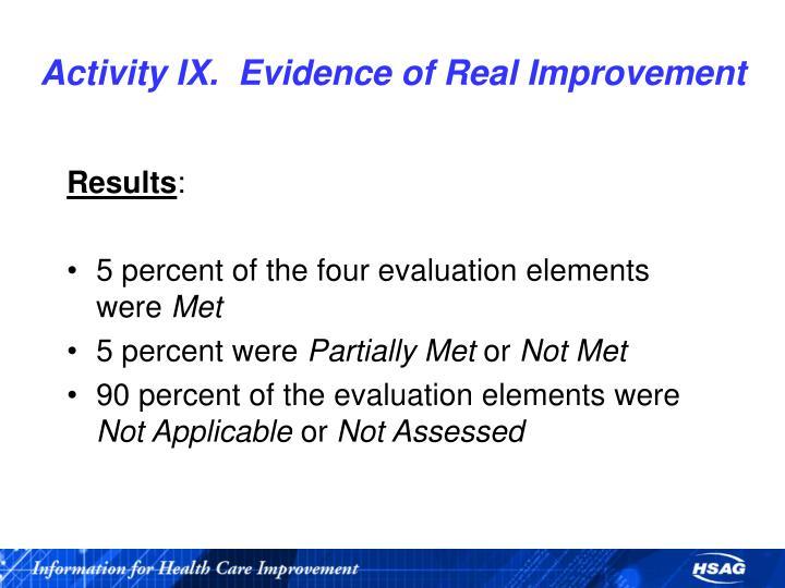 Activity IX.  Evidence of Real Improvement