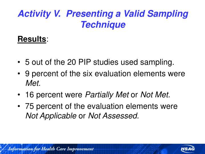 Activity V.  Presenting a Valid Sampling Technique
