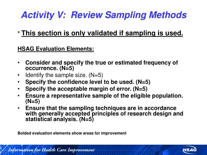 Activity V:  Review Sampling Methods