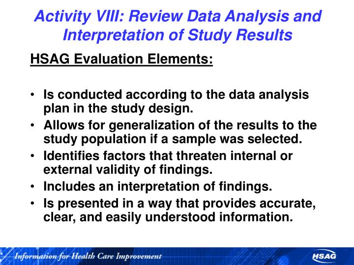 Activity VIII: Review Data Analysis and Interpretation of Study Results