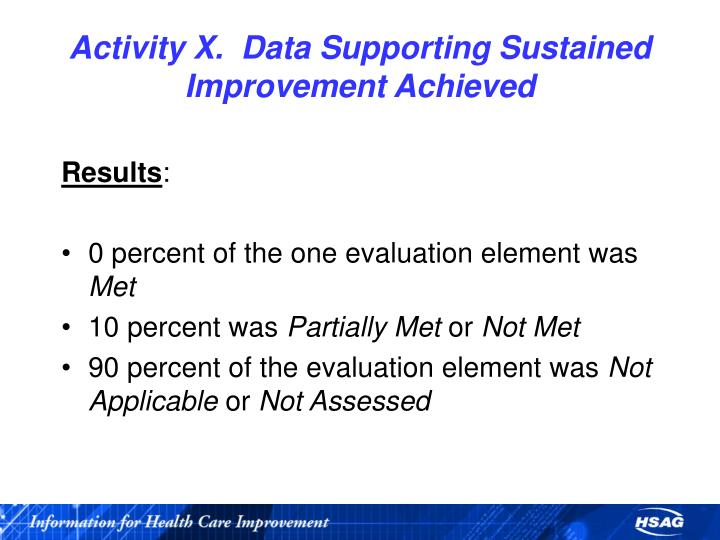 Activity X.  Data Supporting Sustained Improvement Achieved