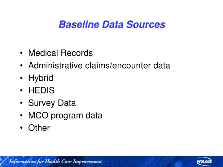 Baseline Data Sources