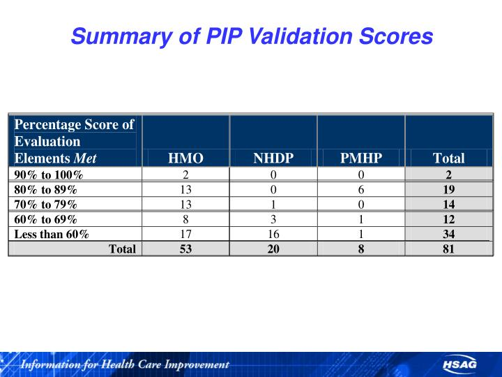 Summary of PIP Validation Scores