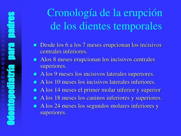 Cronología de la erupción