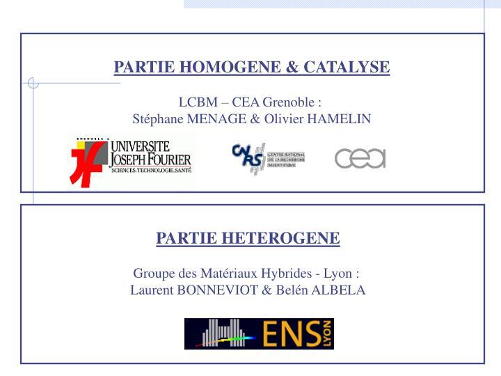 PARTIE HOMOGENE & CATALYSE