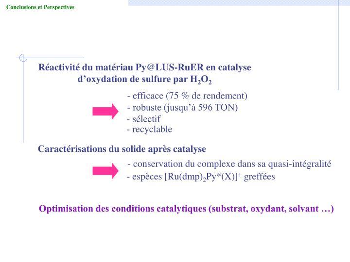 Réactivité du matériau Py@LUS-RuER en catalyse d'oxydation de sulfure par H