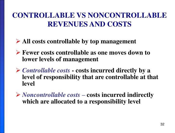 CONTROLLABLE VS NONCONTROLLABLE
