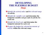 developing the flexible budget steps