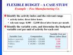 flexible budget a case study example fox manufacturing co1
