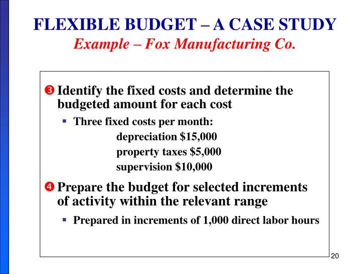 FLEXIBLE BUDGET – A CASE STUDY