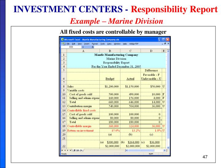 INVESTMENT CENTERS -