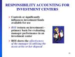 responsibility accounting for investment centers