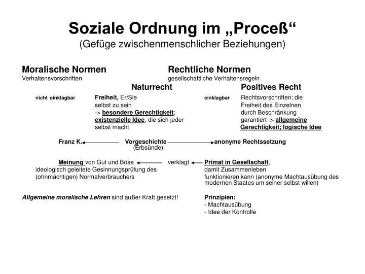 "Soziale Ordnung im ""Proceß"""