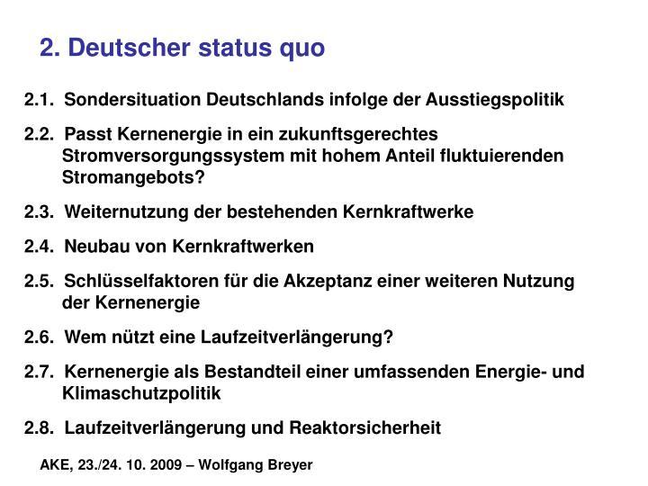 2. Deutscher status quo