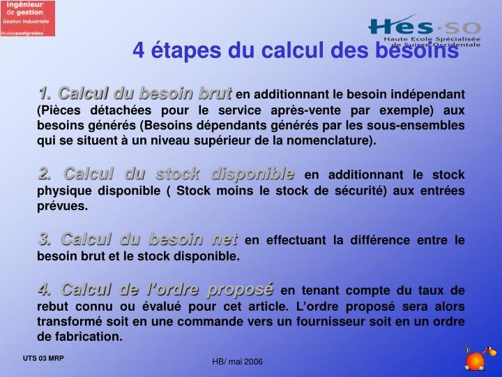 4 étapes du calcul des besoins